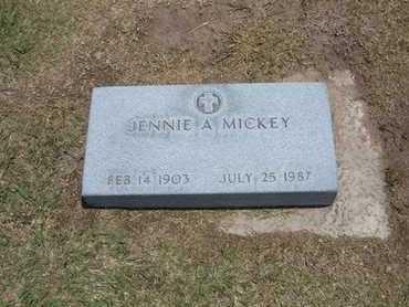 MICKEY, JENNIE A. - Stevens County, Kansas | JENNIE A. MICKEY - Kansas Gravestone Photos