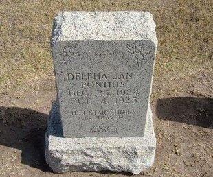 PONTIUS, DELPHA JANE - Stevens County, Kansas | DELPHA JANE PONTIUS - Kansas Gravestone Photos