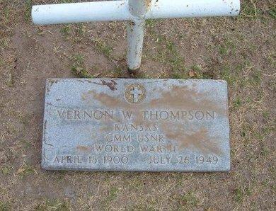 THOMPSON, VERNON W   (VETERAN WWII) - Stevens County, Kansas | VERNON W   (VETERAN WWII) THOMPSON - Kansas Gravestone Photos