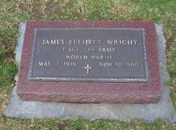 WRIGHT, JAMES ELLIOTT  (VETERAN WWII) - Stevens County, Kansas | JAMES ELLIOTT  (VETERAN WWII) WRIGHT - Kansas Gravestone Photos