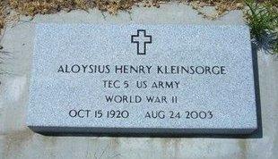 KLEINSORGE, ALOYSIUS HENRY   (VETERAN WWII) - Wallace County, Kansas | ALOYSIUS HENRY   (VETERAN WWII) KLEINSORGE - Kansas Gravestone Photos