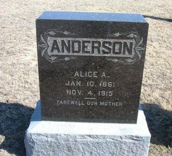 ANDERSON, ALICE A. - Wichita County, Kansas | ALICE A. ANDERSON - Kansas Gravestone Photos