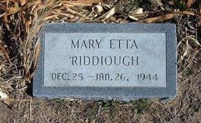RIDDIOUGH, MARY ETTA - Wichita County, Kansas | MARY ETTA RIDDIOUGH - Kansas Gravestone Photos