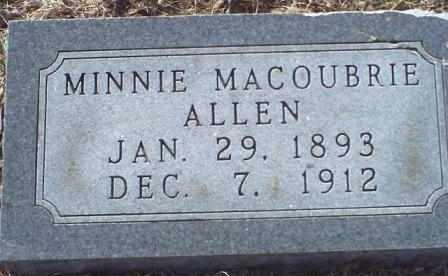 MACOUBRIE ALLEN, MINNIE ELVIRA - Woodson County, Kansas | MINNIE ELVIRA MACOUBRIE ALLEN - Kansas Gravestone Photos