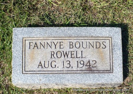 """BOUNDS ROWELL, FRANCES MARY """"FANNYE """" - Bienville County, Louisiana   FRANCES MARY """"FANNYE """" BOUNDS ROWELL - Louisiana Gravestone Photos"""