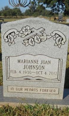 JOHNSON, MARIANNE JOAN - Bossier County, Louisiana | MARIANNE JOAN JOHNSON - Louisiana Gravestone Photos