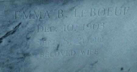 LEBOEUF, EMMA B  (CLOSEUP) - Cameron County, Louisiana | EMMA B  (CLOSEUP) LEBOEUF - Louisiana Gravestone Photos
