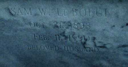 LEBOEUF, SAM W  ((CLOSEUP) - Cameron County, Louisiana | SAM W  ((CLOSEUP) LEBOEUF - Louisiana Gravestone Photos