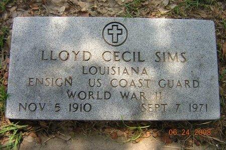 SIMS, LLOYD CECIL (VETERAN WWII) - Claiborne County, Louisiana   LLOYD CECIL (VETERAN WWII) SIMS - Louisiana Gravestone Photos