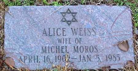 WEISS MOROS, ALICE - East Baton Rouge County, Louisiana | ALICE WEISS MOROS - Louisiana Gravestone Photos