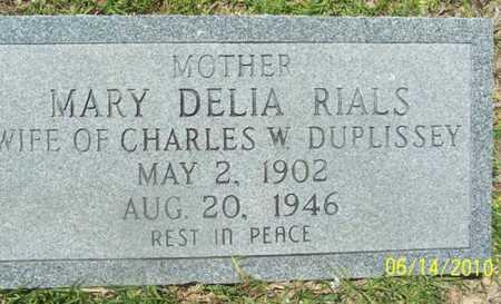 RIALS DUPLISSEY, MARY DELIA - Evangeline County, Louisiana | MARY DELIA RIALS DUPLISSEY - Louisiana Gravestone Photos
