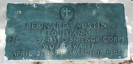 AUSTIN  , LEONARD  (VETERAN WWI) - Iberia County, Louisiana   LEONARD  (VETERAN WWI) AUSTIN   - Louisiana Gravestone Photos