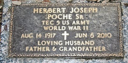 POCHE, HERBERT JOSEPH, SR  (VETERAN WWII) - Jefferson County, Louisiana | HERBERT JOSEPH, SR  (VETERAN WWII) POCHE - Louisiana Gravestone Photos