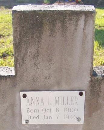 MILLER, ANNA L - Jefferson Davis County, Louisiana   ANNA L MILLER - Louisiana Gravestone Photos