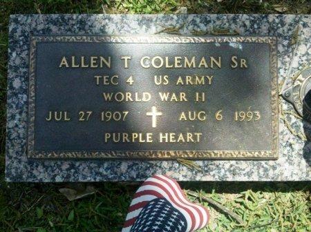 COLEMAN, ALLEN T, SR  (VETERAN WWII) - Pointe Coupee County, Louisiana | ALLEN T, SR  (VETERAN WWII) COLEMAN - Louisiana Gravestone Photos