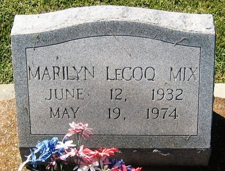 LECOQ MIX, MARILYN - Pointe Coupee County, Louisiana | MARILYN LECOQ MIX - Louisiana Gravestone Photos