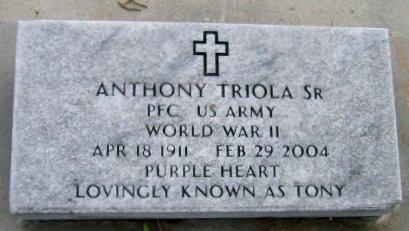 "TRIOLA, ANTHONY, SR  ""TONY""  (VETERAN WWII) - Pointe Coupee County, Louisiana | ANTHONY, SR  ""TONY""  (VETERAN WWII) TRIOLA - Louisiana Gravestone Photos"