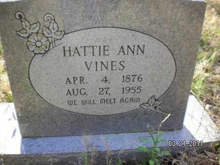 VINES, HATTIE ANN - Sabine County, Louisiana   HATTIE ANN VINES - Louisiana Gravestone Photos