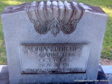 CARRUTH, ADRIAN PHILLIPS  (VETERAN WWII, DNB) - St. Helena County, Louisiana   ADRIAN PHILLIPS  (VETERAN WWII, DNB) CARRUTH - Louisiana Gravestone Photos