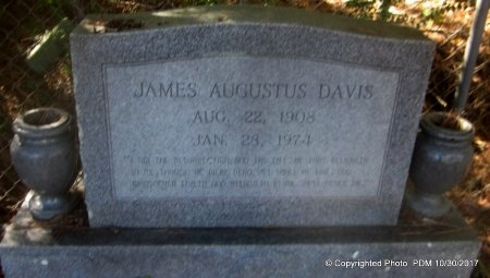 DAVIS, JAMES AUGUSTUS - St. Helena County, Louisiana | JAMES AUGUSTUS DAVIS - Louisiana Gravestone Photos