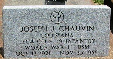 CHAUVIN, JOSEPH J  (VETERAN WWII0 - St. James County, Louisiana | JOSEPH J  (VETERAN WWII0 CHAUVIN - Louisiana Gravestone Photos