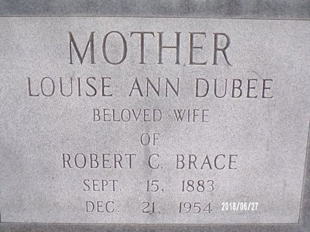 DUBEE BRACE, LOUISE ANN (CLOSE UP) - St. Tammany County, Louisiana | LOUISE ANN (CLOSE UP) DUBEE BRACE - Louisiana Gravestone Photos