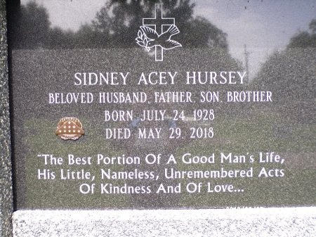 HURSEY, SIDNEY ACEY (CLOSE UP) - St. Tammany County, Louisiana | SIDNEY ACEY (CLOSE UP) HURSEY - Louisiana Gravestone Photos