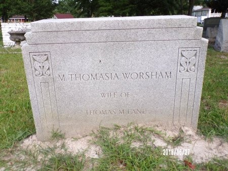 WORSHAM LANE, MARY THOMASIA - St. Tammany County, Louisiana   MARY THOMASIA WORSHAM LANE - Louisiana Gravestone Photos