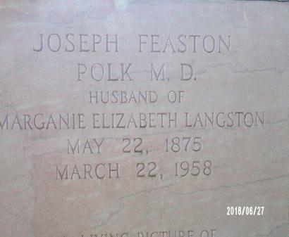 POLK, JOSEPH FEASTON, MD (CLOSE UP) - St. Tammany County, Louisiana   JOSEPH FEASTON, MD (CLOSE UP) POLK - Louisiana Gravestone Photos