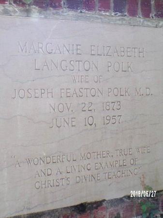 POLK, MARGANIE ELIZABETH (CLOSE UP) - St. Tammany County, Louisiana | MARGANIE ELIZABETH (CLOSE UP) POLK - Louisiana Gravestone Photos