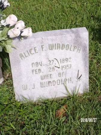 WINDOLPH, ALICE F - St. Tammany County, Louisiana | ALICE F WINDOLPH - Louisiana Gravestone Photos