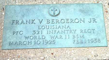 BERGERON, FRANK V,JR  (VETERAN WWII) - Terrebonne County, Louisiana | FRANK V,JR  (VETERAN WWII) BERGERON - Louisiana Gravestone Photos