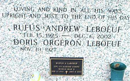 LEBOEUF, RUFUS ANDREW (VETERAN WWII) - Terrebonne County, Louisiana | RUFUS ANDREW (VETERAN WWII) LEBOEUF - Louisiana Gravestone Photos