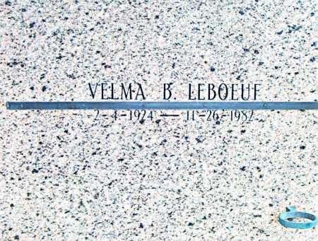 LEBOEUF, VELMA B - Terrebonne County, Louisiana   VELMA B LEBOEUF - Louisiana Gravestone Photos