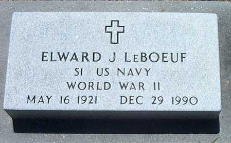 LEBOEUF, ELWARD J (VETERAN WWII) - Terrebonne County, Louisiana | ELWARD J (VETERAN WWII) LEBOEUF - Louisiana Gravestone Photos