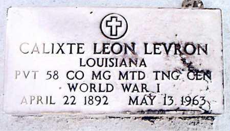 LEVRON, CALIXTE LEON (VETERAN WWI) - Terrebonne County, Louisiana | CALIXTE LEON (VETERAN WWI) LEVRON - Louisiana Gravestone Photos