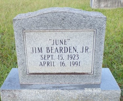 "BEARDEN, JIM, JR ""JUNE"" - Union County, Louisiana | JIM, JR ""JUNE"" BEARDEN - Louisiana Gravestone Photos"