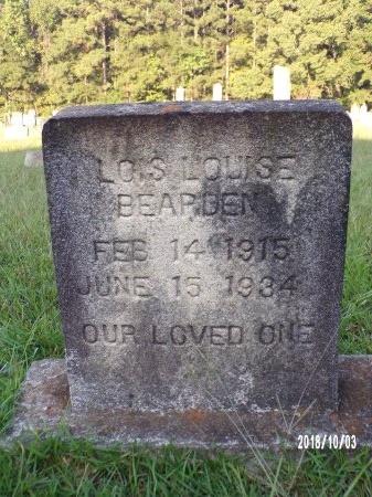 BEARDEN, LOIS LOUISE - Union County, Louisiana   LOIS LOUISE BEARDEN - Louisiana Gravestone Photos