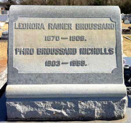 RAINER BROUSSARD, LEONORA - Vermilion County, Louisiana | LEONORA RAINER BROUSSARD - Louisiana Gravestone Photos