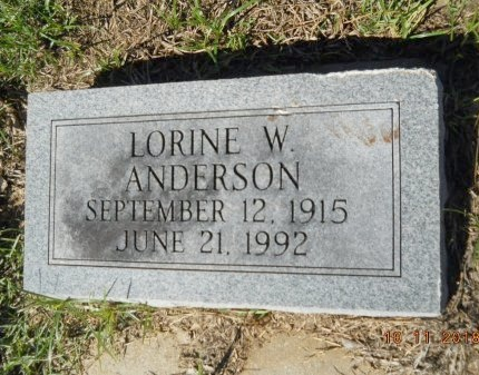 ANDERSON, LORINE W - Webster County, Louisiana | LORINE W ANDERSON - Louisiana Gravestone Photos