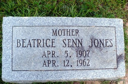 SENN JONES, BEATRICE - Webster County, Louisiana | BEATRICE SENN JONES - Louisiana Gravestone Photos