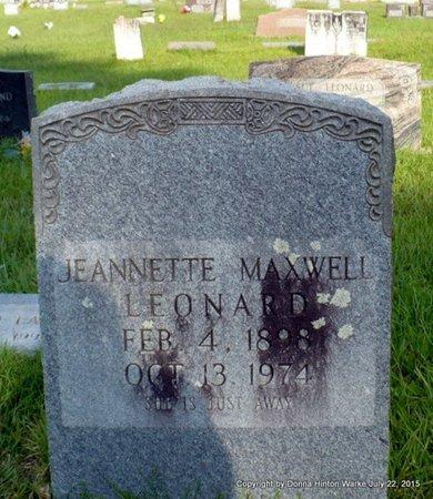 MAXWELL LEONARD, JEANNETTE - Webster County, Louisiana | JEANNETTE MAXWELL LEONARD - Louisiana Gravestone Photos