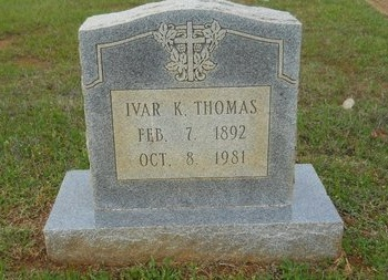 THOMAS, IVAR K - Webster County, Louisiana   IVAR K THOMAS - Louisiana Gravestone Photos