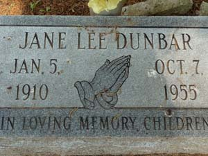 DUNBAR, JANE - West Feliciana County, Louisiana | JANE DUNBAR - Louisiana Gravestone Photos