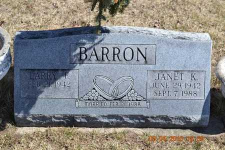 BARRON, JANET K. - Branch County, Michigan | JANET K. BARRON - Michigan Gravestone Photos