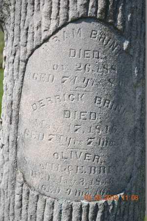 BRINK, HIRAM/DERRICK/OLIVER(CLOSEUP) - Branch County, Michigan | HIRAM/DERRICK/OLIVER(CLOSEUP) BRINK - Michigan Gravestone Photos