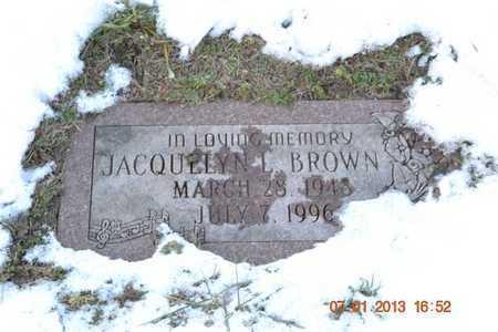 BROWN, JACQUELYN L. - Branch County, Michigan | JACQUELYN L. BROWN - Michigan Gravestone Photos