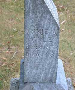 COLE, ANNIE A. - Branch County, Michigan | ANNIE A. COLE - Michigan Gravestone Photos