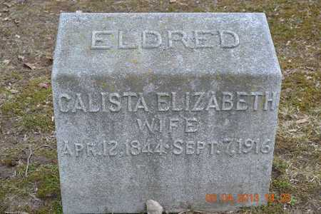 ELDRED, CALISTA ELIZABETH - Branch County, Michigan   CALISTA ELIZABETH ELDRED - Michigan Gravestone Photos