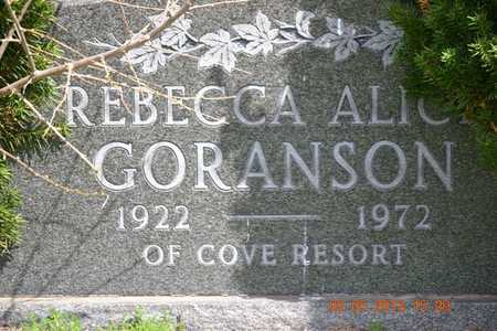 GORANSON, REBECCA ALICE - Branch County, Michigan | REBECCA ALICE GORANSON - Michigan Gravestone Photos